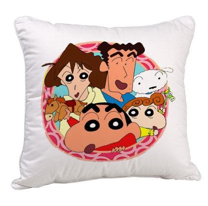 Shinchan family Printed Poly Satin Cushion Pillow with Filler
