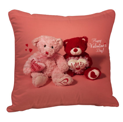 Cute Couple Teddy Printed Poly Satin Cushion Pillow with Filler