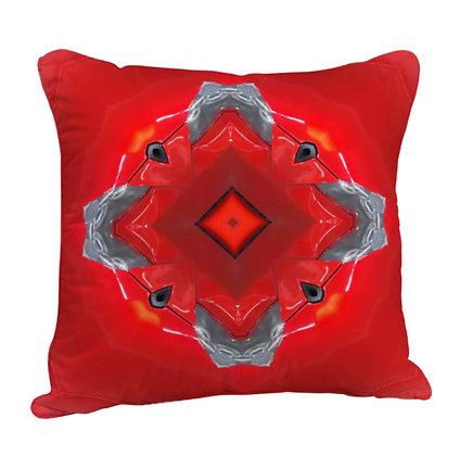 Beautiful Red Theme Rangoli Type  Satin Cushion Pillow with Filler