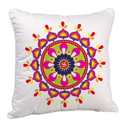Multicolor Beautiful Rangoli Theme Satin Cushion Pillow with Filler