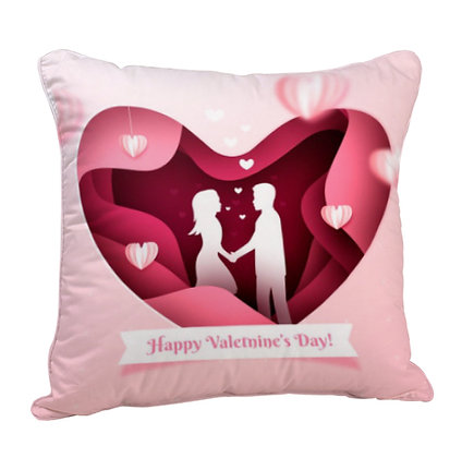 Happy Valentine's Day Satin Cushion Pillow with Filler