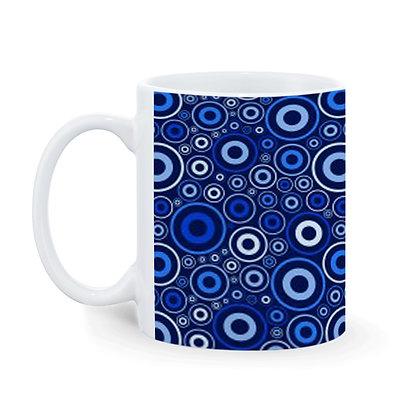 Blue circles Theme Printed Ceramic Coffee Mug 325 ml