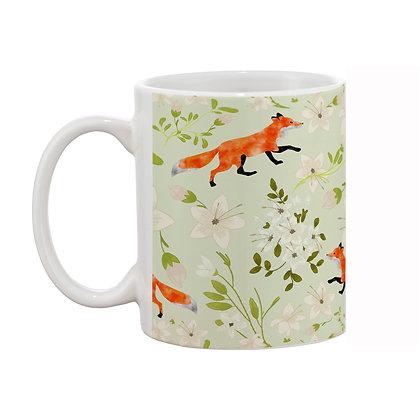 Fox and garden Theme Pattern Ceramic Coffee Mug 325 ml