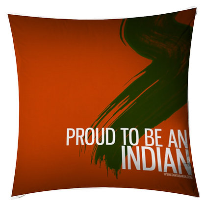 Be an Indian Printed Poly Satin Cushion Pillow Cover with Filler