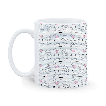 Cartoon Love Pattern Ceramic Coffee Mug 325 ml