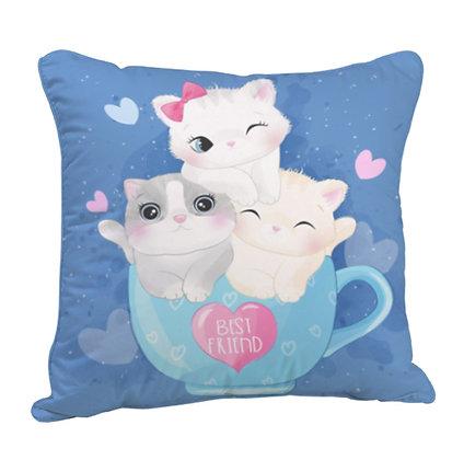 Cat - Bestfriends Satin Cushion Pillow with Filler