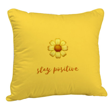 Stay Positive Printed Poly Satin Cushion Pillow Cover with Filler