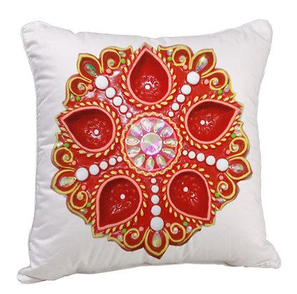 Deep Rangoli Satin Cushion Pillow with Filler