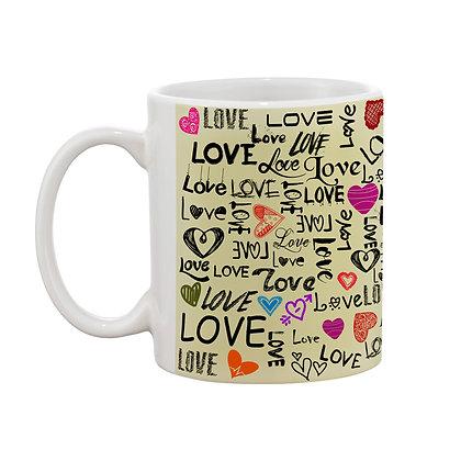 Love Word Cloud Printed Ceramic Coffee Mug 325 ml