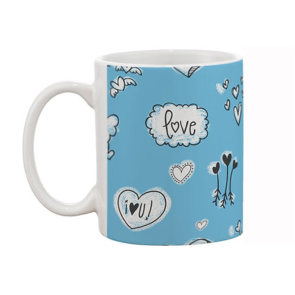 Love Skyblue Theme Pattern Ceramic Coffee Mug 325 ml