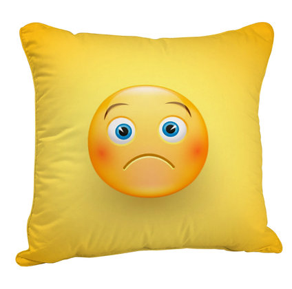 Frowning Face EMOJI Satin Cushion Pillow Cover with Filler