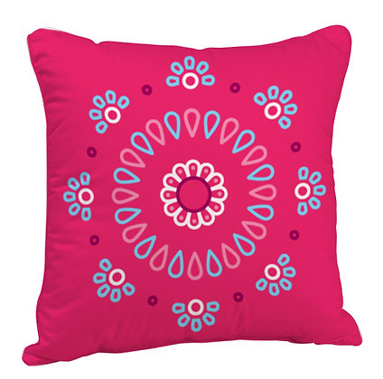 Beautiful Rangoli with Red Base Satin Cushion Pillow with Filler