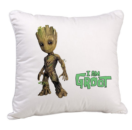 GROOT Printed Poly Satin Cushion Pillow with Filler