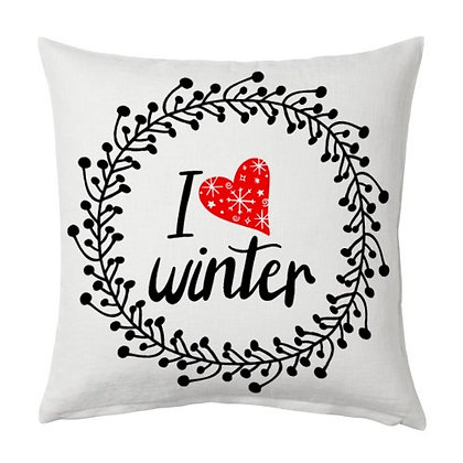 I LOVE WINTER Printed Poly Satin Cushion Pillow Cover with Filler