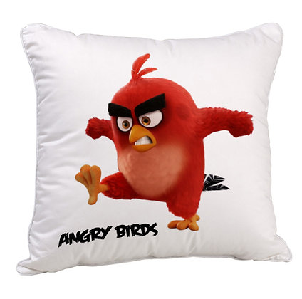 Angry Birds RED  Printed Poly Satin Cushion Pillow Cover with Filler