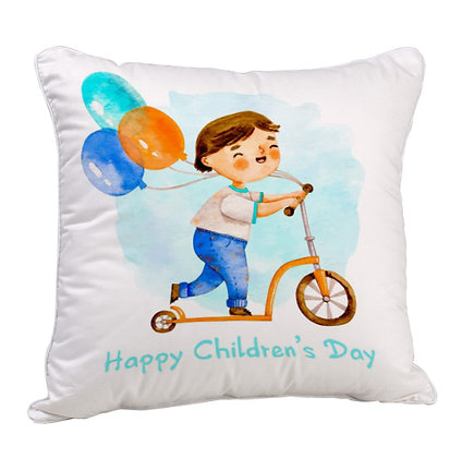 Happy Children Day Satin Cushion Pillow with Filler