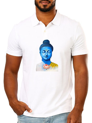 Buddha Printed Regular Fit Polo Men's T-shirt