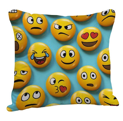 Many EMOJI Faces Printed Poly Satin Cushion Pillow with Filler