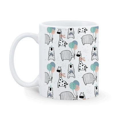 Cartoon Giraffe - Elephant Pattern Ceramic Coffee Mug 325 ml