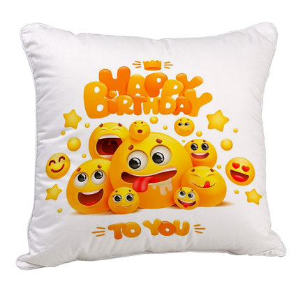 Happy Birthday to You Emoji Theme Satin Cushion Pillow Cover with Filler