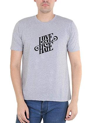 Hate & Love Printed Regular Fit Round Men's T-shirt