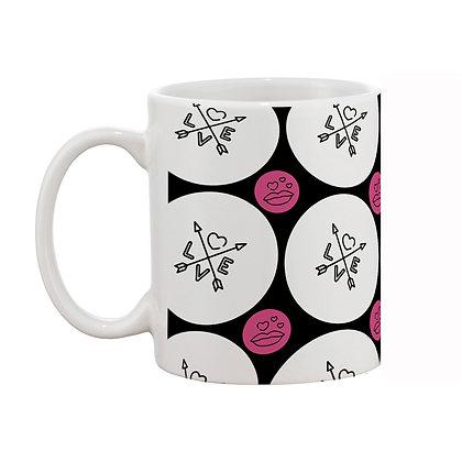 Love White and Black Theme Pattern Ceramic Coffee Mug 325 ml
