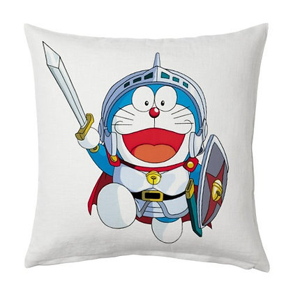 Doremon Printed Poly Satin Cushions Pillow Cover with Filler