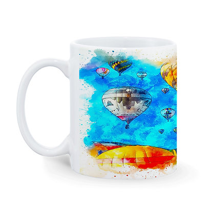 Flying with colorful parachute Theme Pattern Ceramic Coffee Mug 325 ml