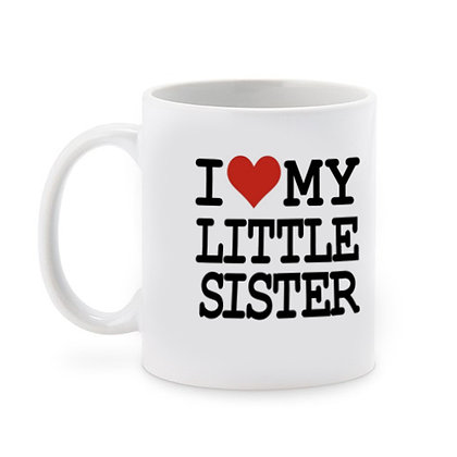 I Love My Little Sister Printed Ceramic Coffee Mug 325 ml
