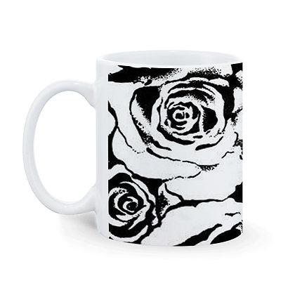 Black Rose Theme Printed Ceramic Coffee Mug 325 ml
