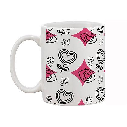 Love with Music White Theme Pattern Ceramic Coffee Mug 325 ml