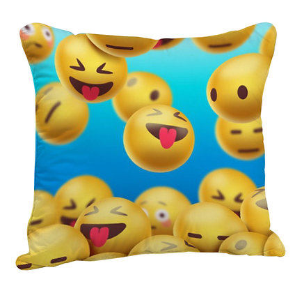 Smiling Face With Open Mouth EMOJI Face Pattern Satin Cushion Pillow with Filler