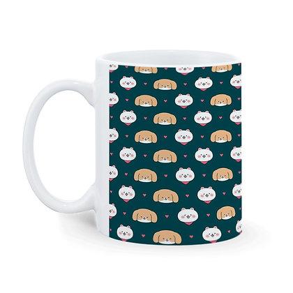 Dog and Cat Love Pattern Ceramic Coffee Mug 325 ml