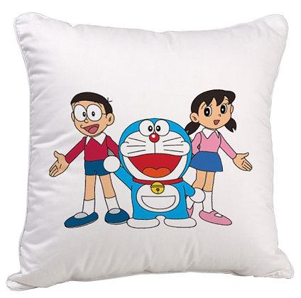 Nobita Doremon Shizuka Printed Poly Satin Cushion Pillow with Filler