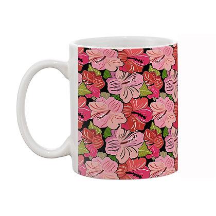 Lily Flowers Theme Pattern Ceramic Coffee Mug 325 ml