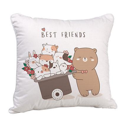 Best Friends Satin Cushion Pillow with Filler