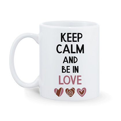 Keep Calm and Be in Love Printed Ceramic Coffee Mug 325ml