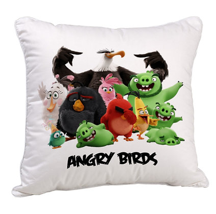 Group of Angry Birds Printed Poly Satin Cushion Pillow Cover with Filler