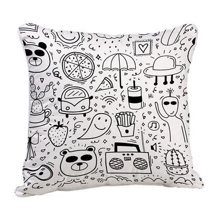 Panda and Eating Pattern Satin Cushion Pillow with Filler