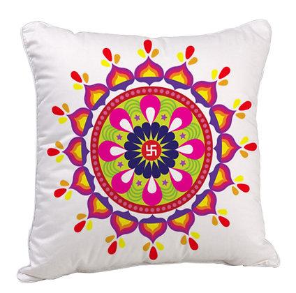 Sathiya Sign Rangoli Theme Satin Cushion Pillow with Filler
