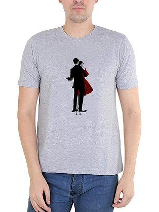 Couple Printed Regular Fit Round Men's T-shirt
