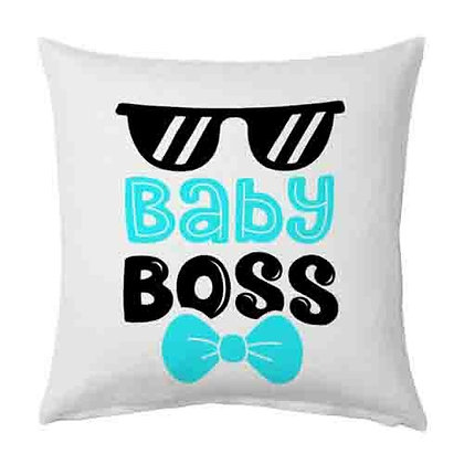 Baby Boss Printed Poly Satin Cushions Pillow Cover with Filler