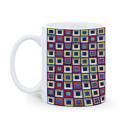 3d Blue Square Blocks Pattern Ceramic Coffee Mug 325 ml