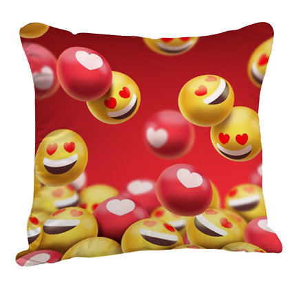 Smiling Face with Heart-Eyes and Heart EMOJI Pattern Satin Cushion Pillow Cover