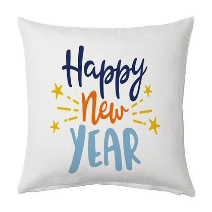 Happy New Year Printed Poly Satin Cushions Pillow Cover with Filler