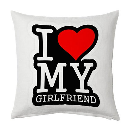 I love my gf Printed Poly Satin Cushion Pillow Cover with Filler