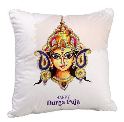 happy Durga Puja Satin Cushion Pillow with Filler