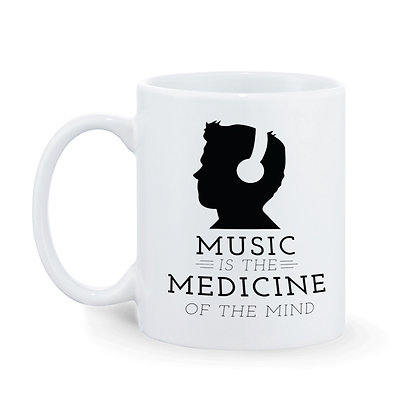 Music is the medicine of the mind Printed Ceramic Coffee Mug 325 ml