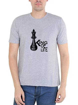 King of Life Printed Regular Fit Round Men's T-shirt