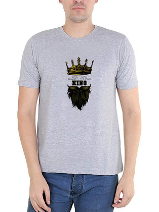 Like A King Printed Regular Fit Round Men's T-shirt